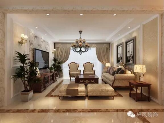 碧桂园天墅三室两厅一厨一卫欧式风格装修效果图图片
