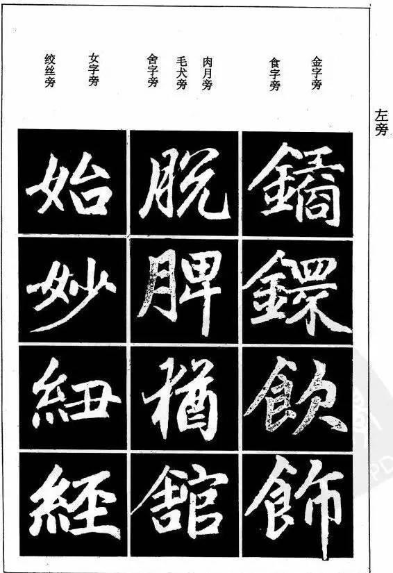 赵孟頫楷书基本笔画和结构示范字例