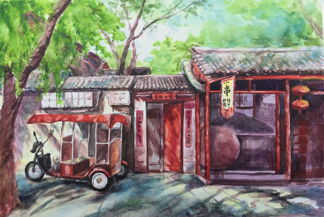 手绘北京作品系列第九期:笔下的老北京胡同古朴而