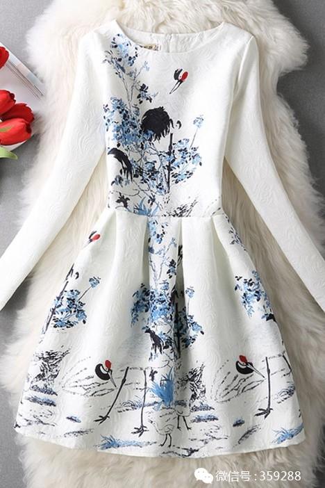 淑女提花印花仙鹤图腾长袖连衣裙打底蓬蓬公主裙