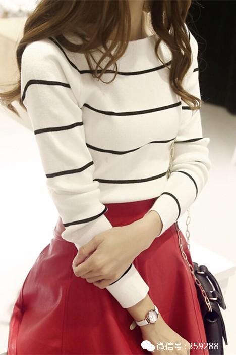 小茉莉韩版潮品,小心机一字领设计,时尚条纹款.图片