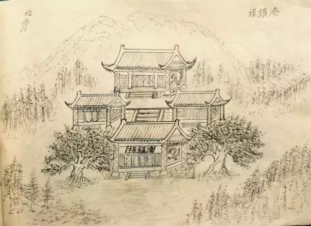 """在一幅名为""""祥银庵""""的手绘图中,庄严的大门,门口的浮雕,左右两旁的黄"""