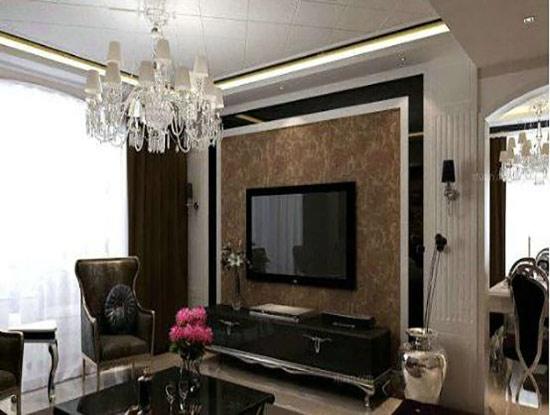 客厅简欧大理石电视背景墙效果图图片