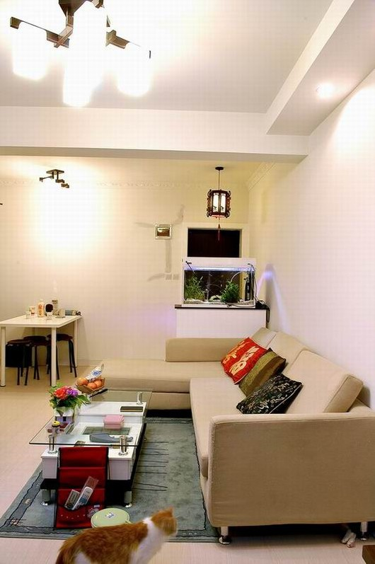 温馨小户型装修客厅装修效果图,在客厅的一面做了书房,而电视的背景