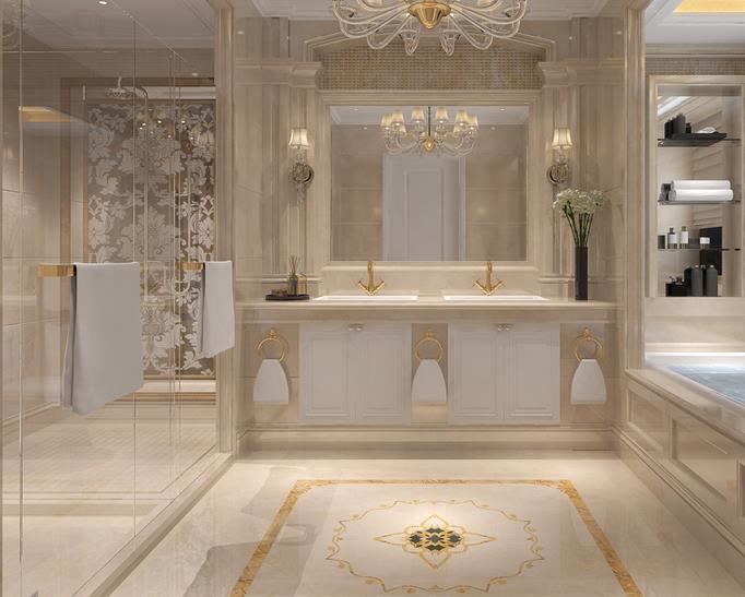 大理石全副武装之下的欧式风格卫浴间,通透明亮,干净清爽.图片