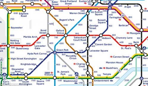 伦敦交通局近日大力推广他们推出的新的步行地铁线路图,鼓励人们在图片
