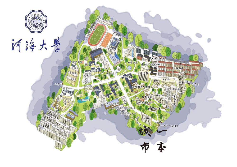 手绘小学校园地图