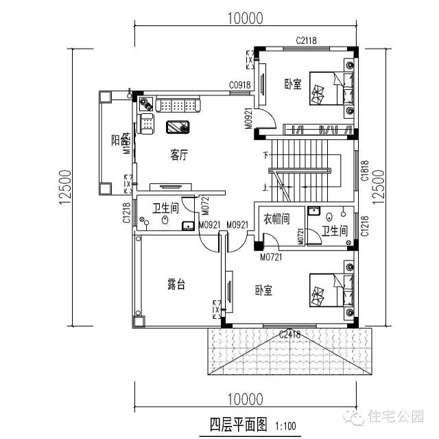 农村13.7x14.2米接地气自建房