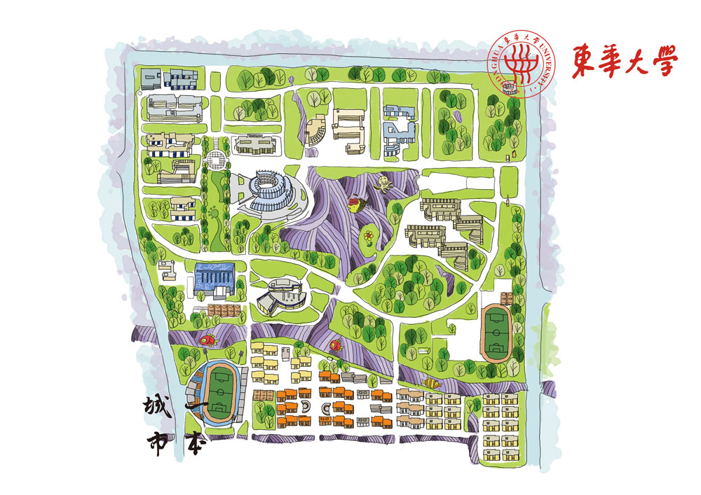 最美不过上海高校手绘地图