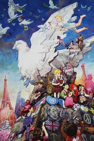 大连女孩荣获第27届世界和平海报绘画大赛总冠军