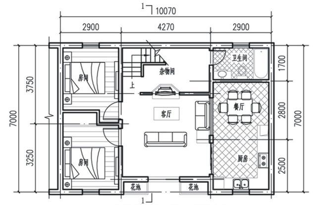 农村10x7米自建房,方正户型