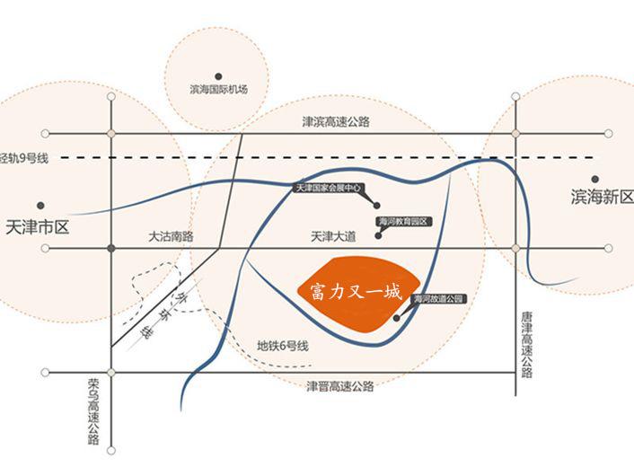富力又一城毗邻滨海响螺湾商务区,距离天津中心城区仅12公里,滨海图片
