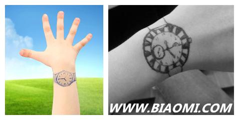 """拿支笔,在手腕上简单勾勒,出现一款""""印记的手表"""".图片"""