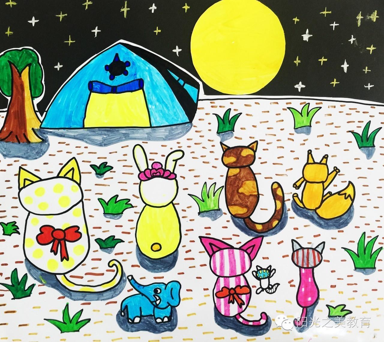 中秋节儿童画,中秋节主题儿童画,关于中秋节的儿童画 5068儿童网图片