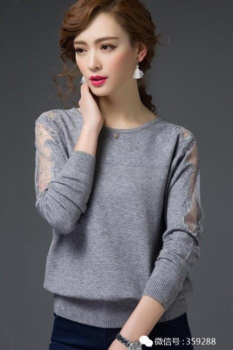 新款春装新款女装大码宽松镂空蕾丝毛衣韩版套头短款羊毛针织衫