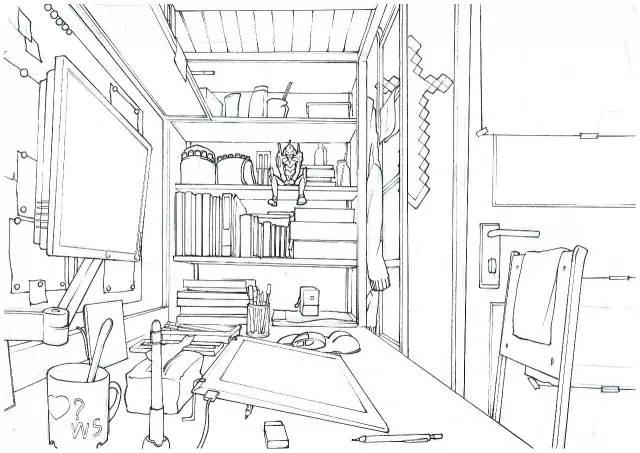 户型 户型图 简笔画 平面图 手绘 线稿 600_424
