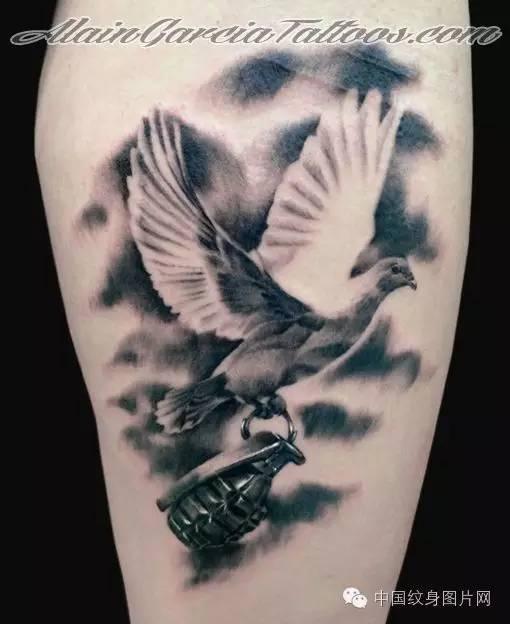 纹身素材:和平鸽