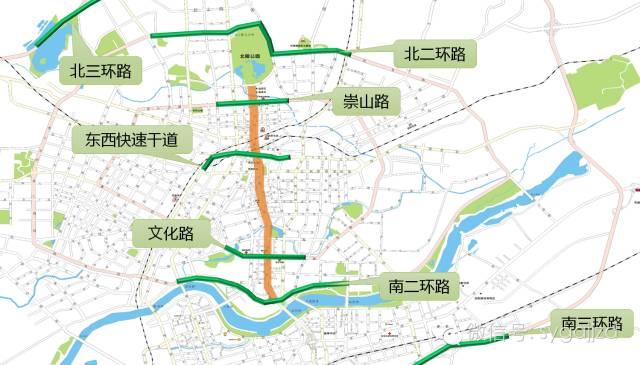 崇山路(北陵高架桥),东西快速干道,文化路,南北二环路,南北三环路图片
