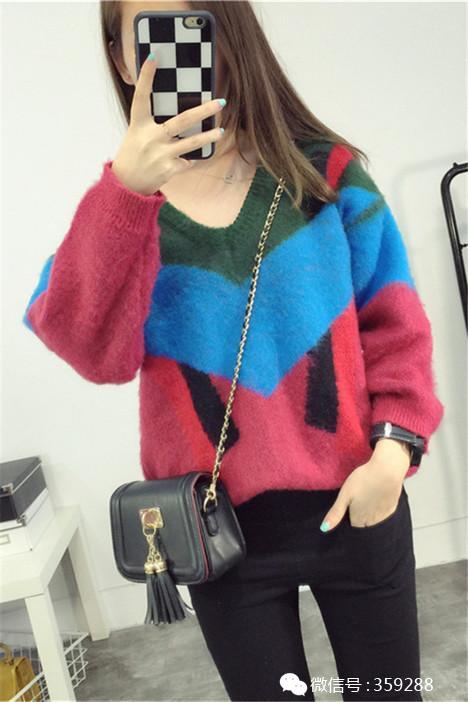 新款秋冬新款针织衫毛衣女外套长袖韩版套头不规则网络v领女装