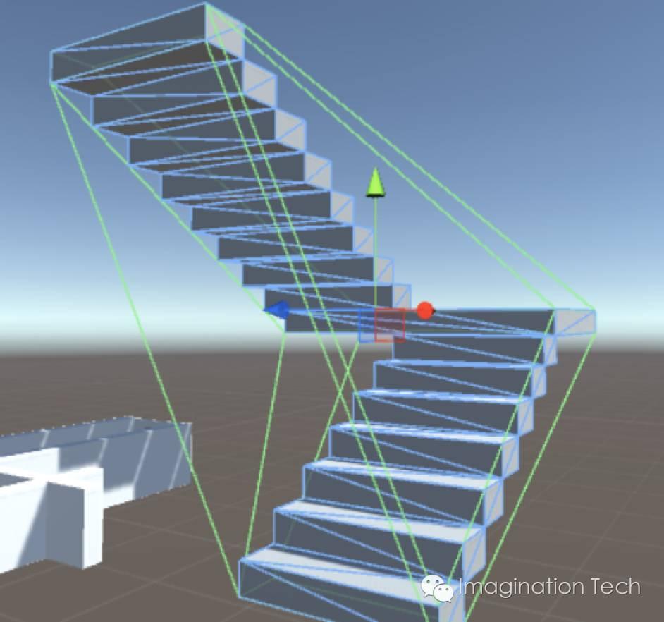 注意这个生成的碰撞体,其应该可以行走的表面被完全封死,变为不可行走。这时我们就不能只顾方便而使用Mesh Collider了。   对于楼梯的碰撞体的解决方法,我们使用Box Collider来模拟楼梯。