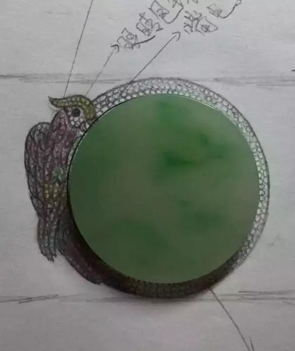 翡翠镶嵌手绘图