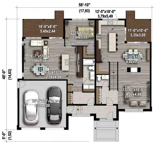 三款现代风格农村别墅图纸适合轻钢结构和砖混结构