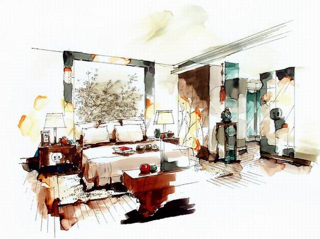 现代中式别墅样板间设计,手绘+效果图作品展示
