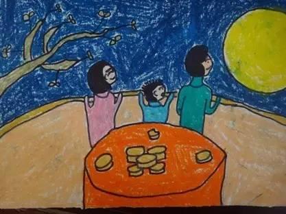 儿童画中秋节图画 团圆过中秋图片
