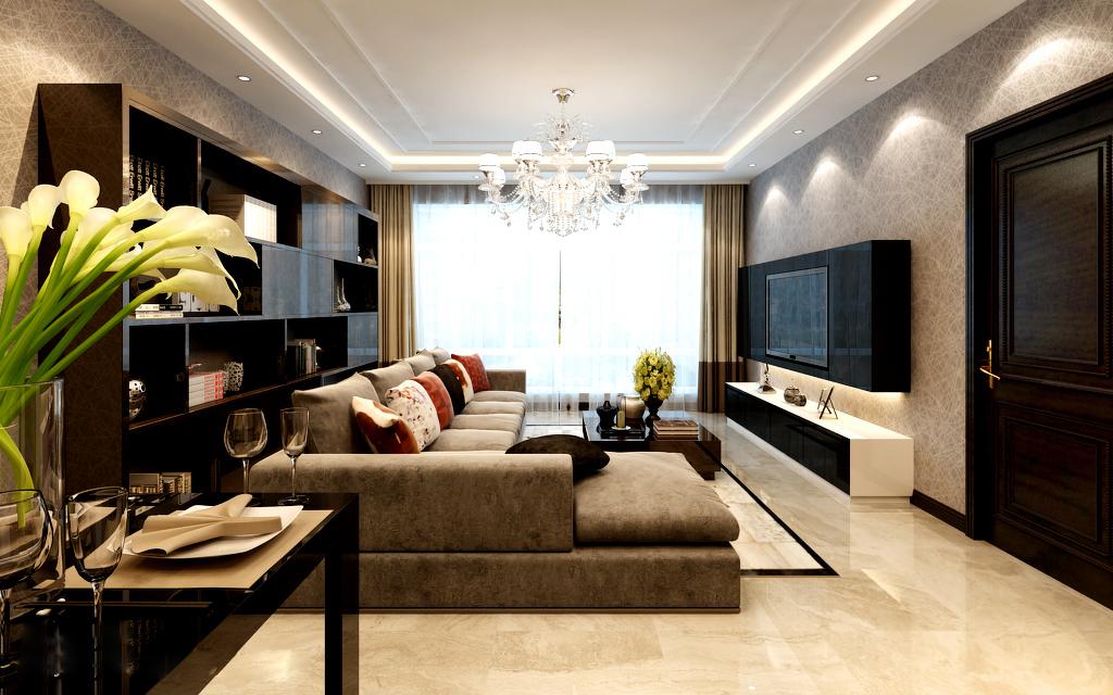 现代风格的二居室装修效果图图片