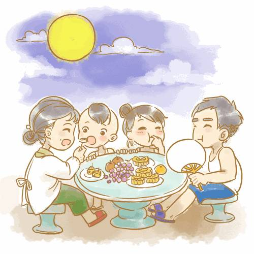 月饼手绘图卡通