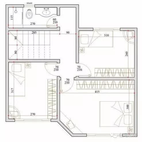 新农村自建房小户型 7米x7米