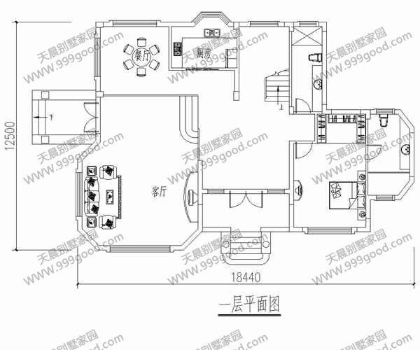 三层农村自建房 别墅户型18x12米图纸