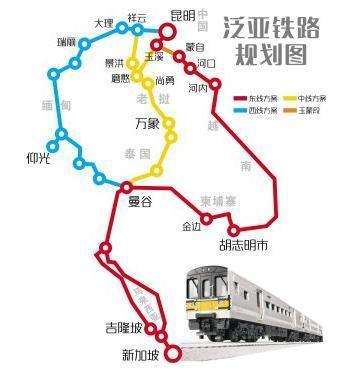 从地图上可以看出,中老铁路从中国昆明出发,一直到达老挝首都万象,全