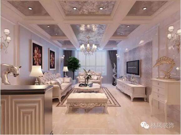 鑫丰中心里两室两厅一厨一卫欧式风格装修效果图