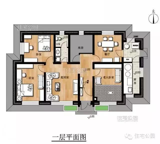 农村自建平房地上一层设计图20