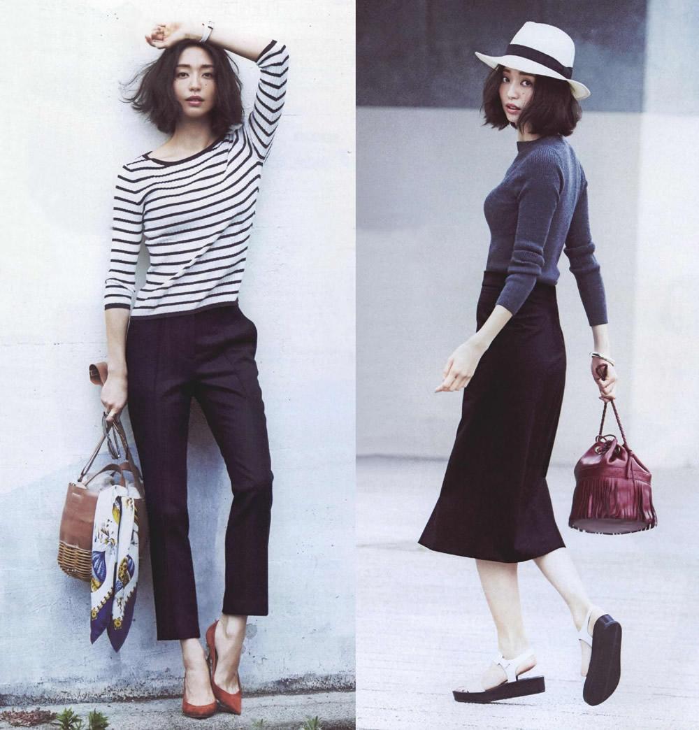 白色裤子搭配黑色蕾丝
