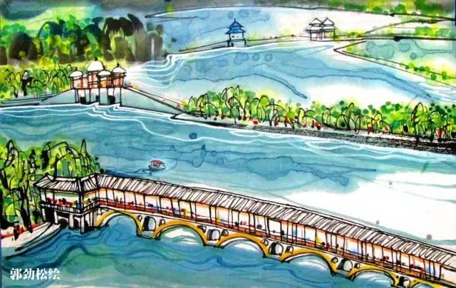 景观湖马克笔手绘