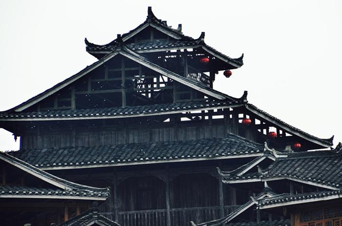 风雨桥,民宅,鼓楼,凉亭-程阳八寨木质结构建筑群