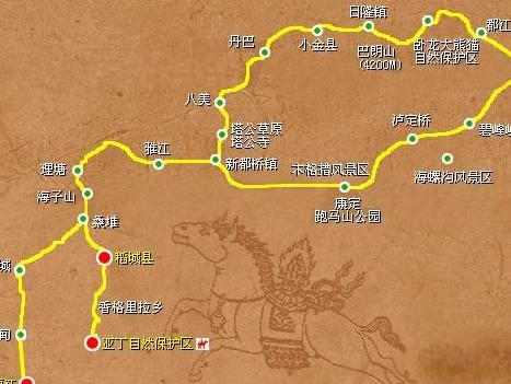 成都到稻城亚丁旅游地图