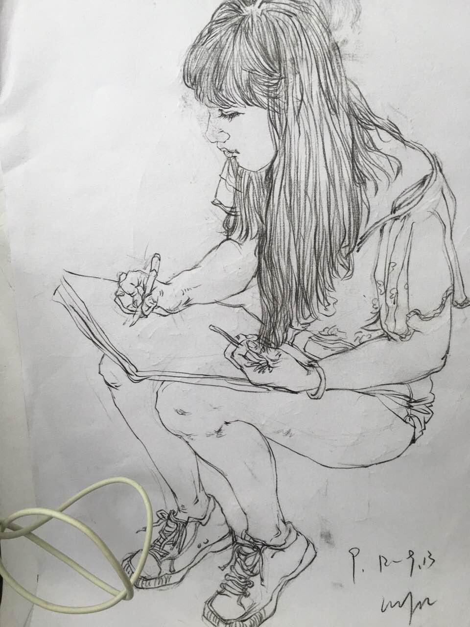 灰色头发女生手绘