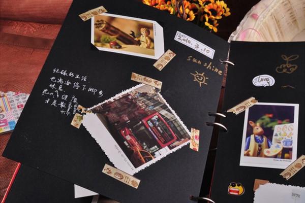 diy相册设计手绘图所需材料:手工相册一本,花边剪刀,多色角贴,