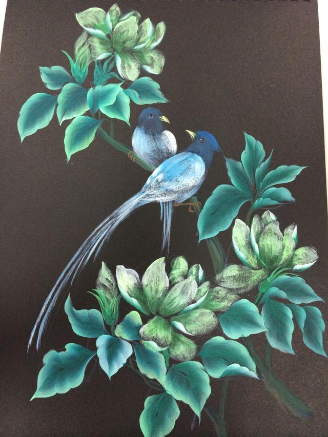 赏--玉兰花与寿带鸟