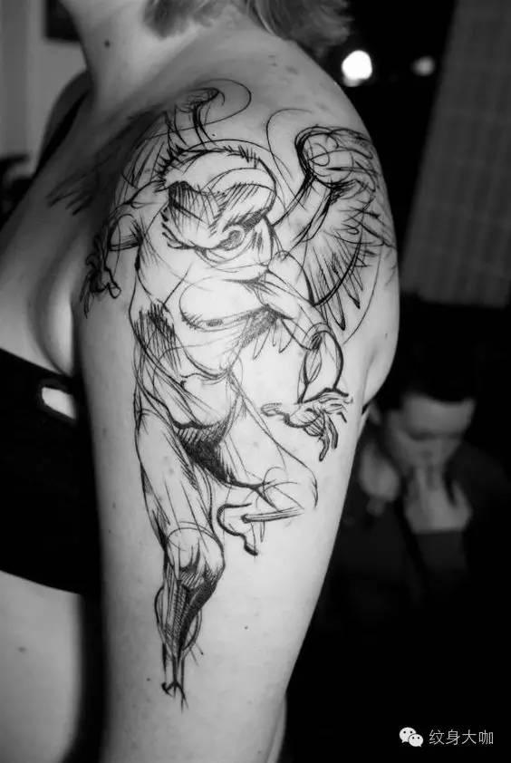 纹身素材:天使