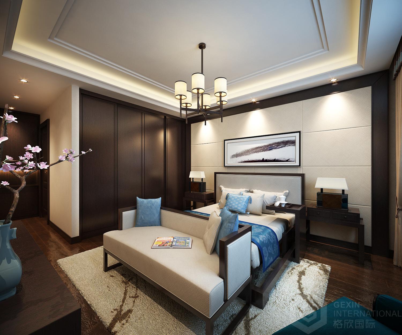 主卧则以亚麻壁纸为主,床头背景墙则用硬包与木质线条的组合来构造图片