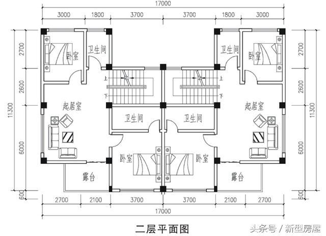 三层平面图:南北双露台,主卧室套间,带衣帽间和卫生间.图片