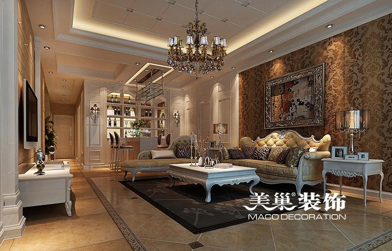 马渡别墅220平欧式古典风格装修案例-客厅装修设计
