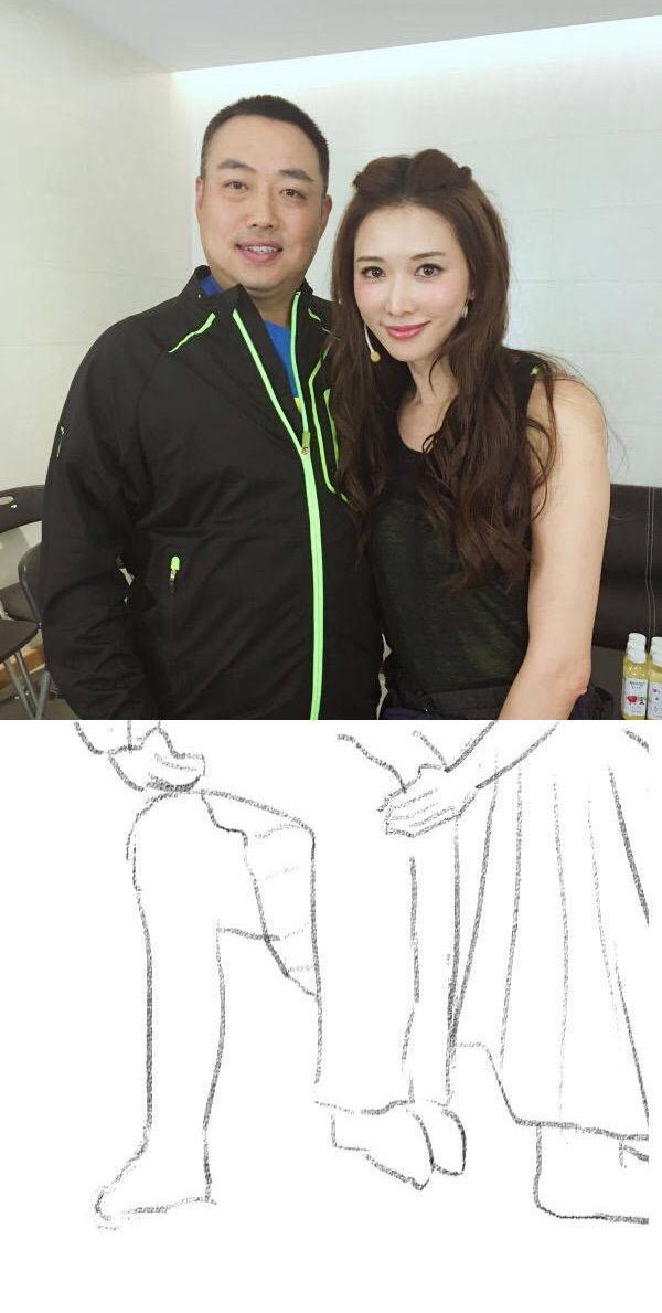 林志玲情商高和刘国梁合影半蹲只拍上半身,结果.图片