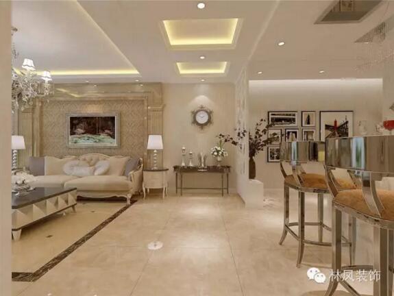 电视后面凹形造型特别时尚,沙发背景主要使用了理石柱子,没有过多繁琐