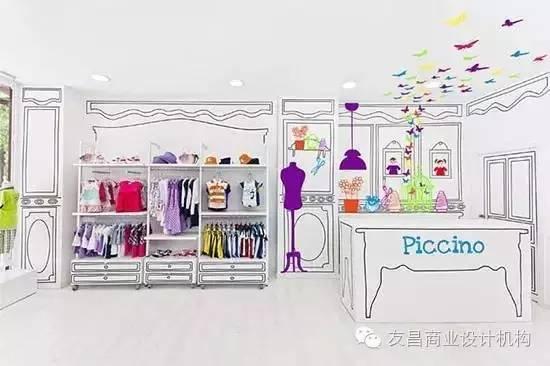 儿童服装店,以独特手绘漫画虚实设计,乍一看让人仿佛进入了二次元空