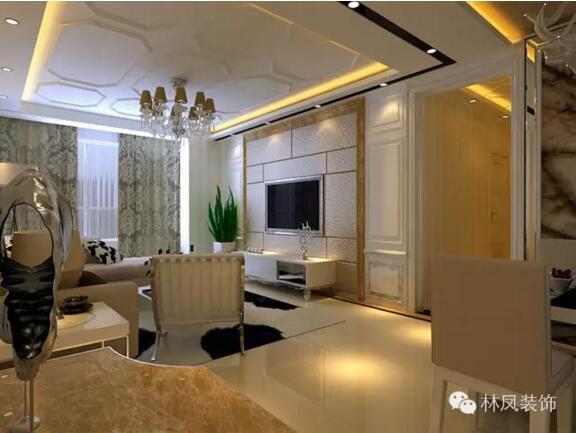 华润橡树湾三室两厅两卫一厨简欧风格装修效果图图片